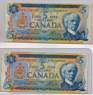 Bank Of Canada 1972 $ 5 Asterisk Replacement Banknotes BC 48bA S/L S/F
