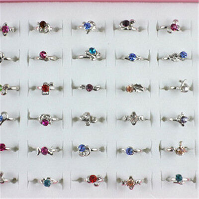 Wholesale Lots 40pc White Gold Plated Cute Kid 's Party Crystal Adjustable Rings