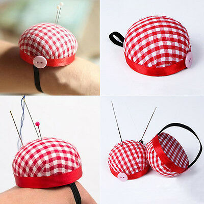 Plaid Grid Needle Sewing Pin Cushion Storage Holder,Strap Button Pincushion Red