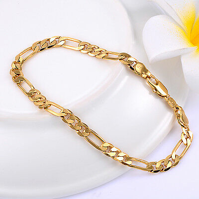 18K Yellow Gold Plated Mens Figaro Chain Bracelet Solid Curb Link