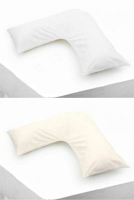 Luxury V Shaped Tri Boomerang Percale Pillow Cases Easy Care Fabric Cream White