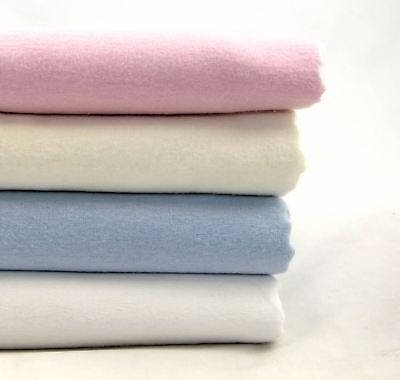 100% Cotton Flannelette Pillow Cases Pair Super Soft Pink Blue White Cream