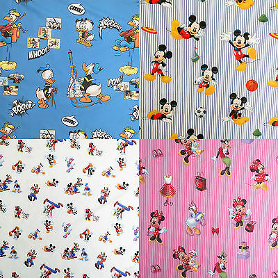 "Disney® Mickey Minnie Mouse Donald Daisy 100% Cotton Fabric 140cm / 55"" Wide"