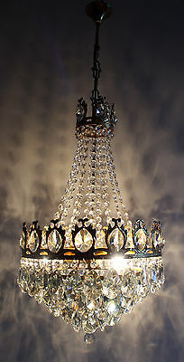 Gold Tone Antique French Basket Style Brass &  Crystals  Chandelier Vintage Lamp
