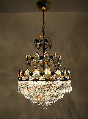 Antique French Basket Style Brass & Crystals Chandelier from 1950's • CAD $224.55