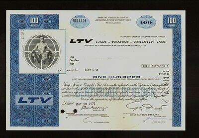 LTV: Ling-Temco-Vought Inc  - A-7A  Corsair II makers old stock certificate 1971