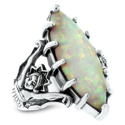 Goddess Ring White Lab Opal Victorian 925 Sterling Silver Size 9,#615