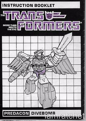 Transformers Original G1 Divebomb Instruction Book