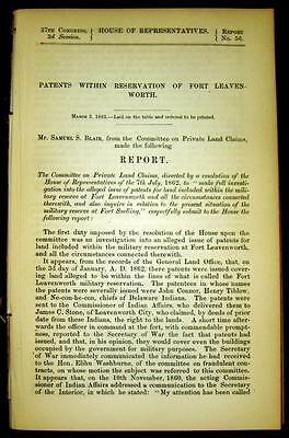 1863 FORT LEAVENWORTH Kansas Investigation Land Patents In Military Reserve