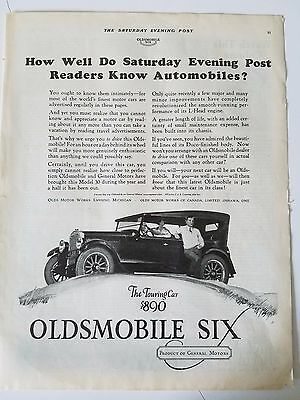 1925 Oldsmobile Six The Touring Car Saterday Evening Post General Motors Ad
