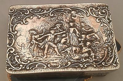 BEAUTIFUL Repoussé Scene HEAVY Sterling Silver Gold Large Box/Case GERMANY -L170