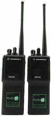 MOTOROLA MT21000 UHF 4 WATT HEAVY DUTY TWO WAY WALKIE-TALKIE RADIOS x 2