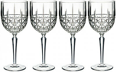 Marquis By Waterford Crystal 'brady' 4 Wine Goblets (Boxed) - New