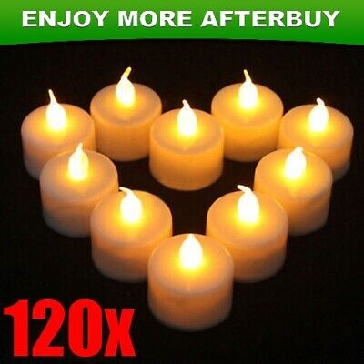 120x LED TEA LIGHT TEALIGHT CANDLE FLAMELESS WEDDING DECORATION BATTERY INCLUDED