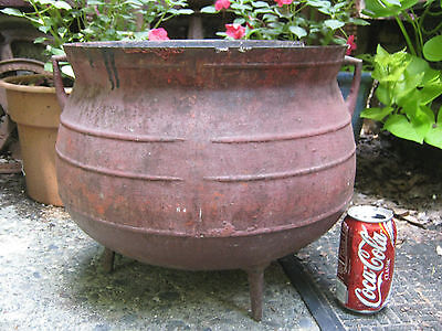 Antique Country Primitive Flower Garden Cast Iron Cauldron Witch Pot Kettle Usa