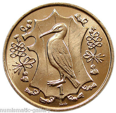 ISLE OF MAN 1 Penny 1984 BU = Quincentenary of the College of Arms - Shag Bird =