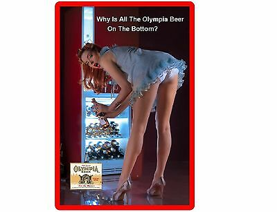 Funny Sexy Olympia Beer Girl Bending Refrigerator/Tool Box Magnet Man Cave