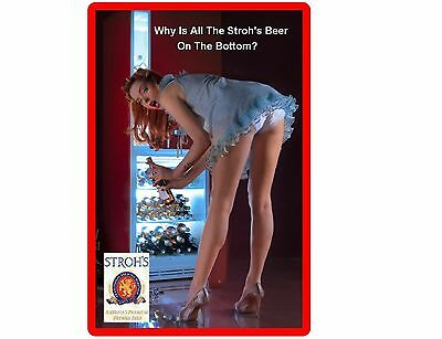 Funny Sexy Strohs Beer Girl Bending Refrigerator/Tool Box Magnet Man Cave