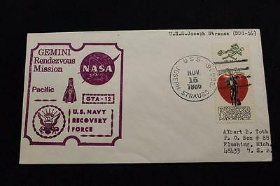 Naval Space Cover 1966 Gemini Gta-12 Recovery Ship Uss J Strauss (Ddg-16) (2281)