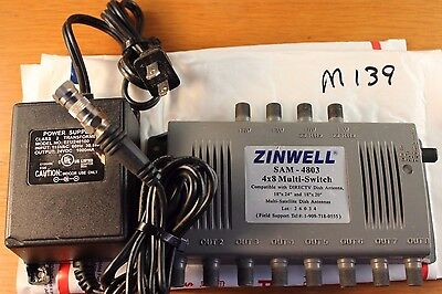Zinwell Sam-4803 Dtv 4 X 8 Multiswitch 8 Output With Transformer Coax #m139