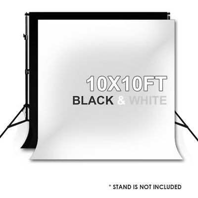 10 X 10FT Photography Photo Studio Black + White Backdrop Background Muslin