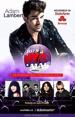 Adam Lambert/carly Rae Jepsen/great Big World/becky G Texas Concert Tour Poster