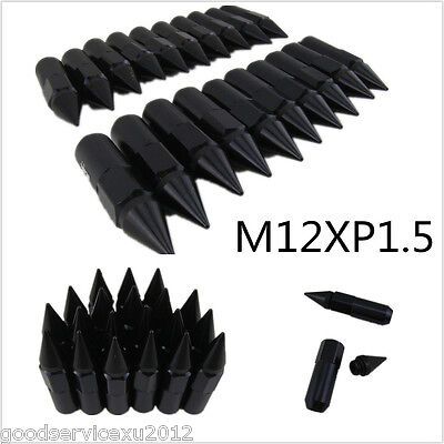 20in1 Black Spiked Alloy Car Extended Tuner 60mm Lug Nuts Wheels / Rims M12X1.5