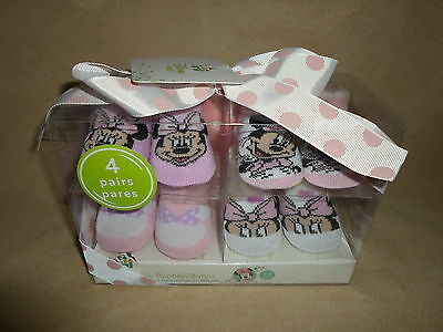 Set Of 4 Pairs Of Baby Girls 0-6 Months Disney Minnie Mouse Booties, NEW IN BOX!