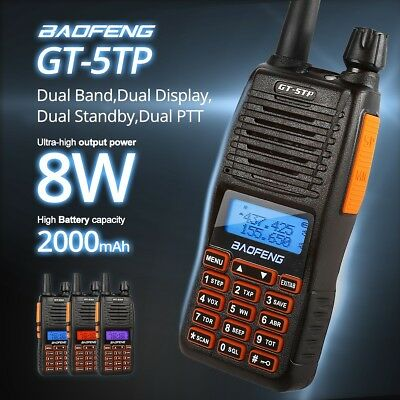 New Baofeng GT-5TP VHF/UHF * Dual-PTT * 8W HP Two-way Radio Walkie Talkie