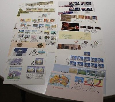 1988 Fdc Coll X24 Joint Issue Usa,nz,uk,living Together,crafts,panorama Fv$36