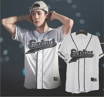 KPOP EXO EXO'rDIUM T-shirt Button Down Baseball Jersey Tshirt Chanyeol Baekhyun