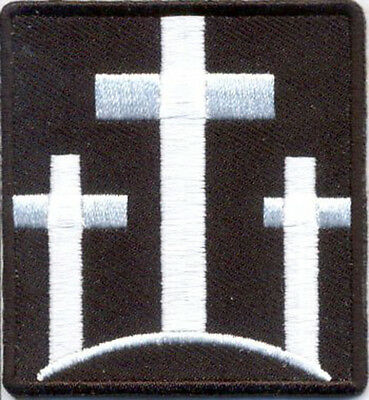 THREE CROSSES Christian Embroidered WHITE CROSSES MORALE HOOK LOOP PATCH