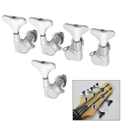 New Silver Guitar Sealed Tuners Tuning Pegs Machine Heads 2L3R For 5-String Bass