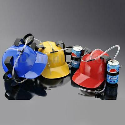 Drinking Hard Helmet Hat Celebrate Party Game Beer Soda Dual Can Straw Fun Gift
