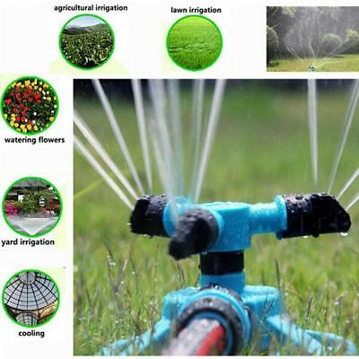 360° Circle Rotating Water Sprinkler 3 Nozzle Garden Pipe Hose Irrigation LG