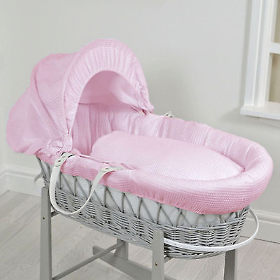 New 4Baby Waffle Pink Deluxe Padded Grey Wicker Moses Basket