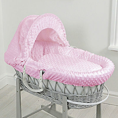 New 4Baby Pink Dimple Deluxe Padded Grey Wicker Moses Basket