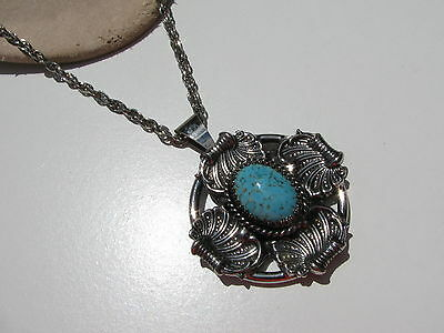 Vtg.feather Plumes Cabochon Turquoise Art Glass Stone Medallion Pendant Necklace