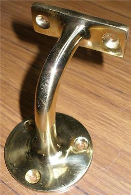 SOLID POLISHED BRASS HANDRAIL BRACKET or BANISTER BRACKET