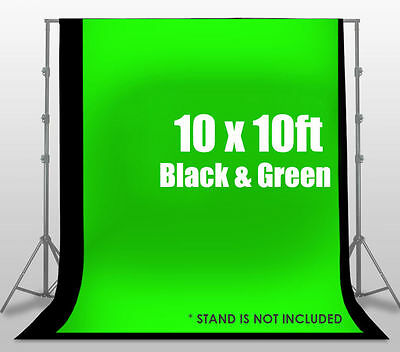 Black&Green Studio 10 x 20Ft. Black Muslin Photo Backdrop Photography Background