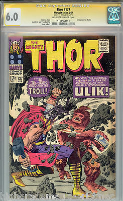 Thor # 137 Cgc 6.0 Oww Ss Stan Lee Signed Signature Series Cgc #1116964013