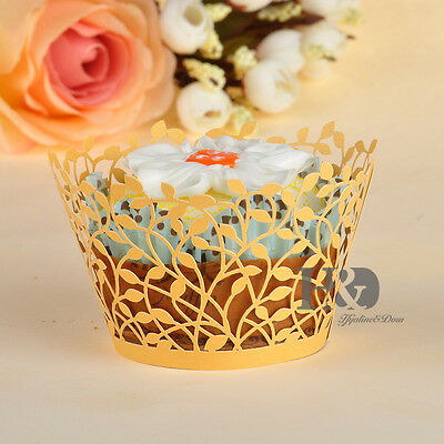 12pcs Gold Cupcake Wrappers Cases Vine Filigree Wedding Birthday Party Laser Cut