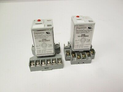 Lot of 2 Dayton 5Z468 Relays 120VAC 50/60Hz Coil 120/240VAC 12A Contact 3PDT