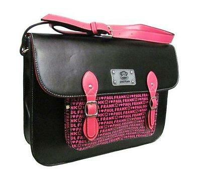 Paul Frank black & pink satchel school college bag PFLV8768BLK Brand New