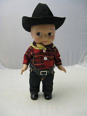 VTG 1930s Buddy Lee Composite Doll Jeans Cowboy Black Hat Band Yellow Bandana