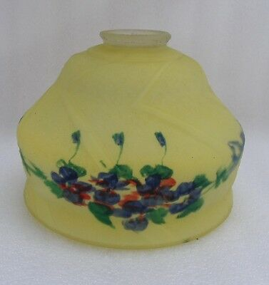 Vintage 1920s - 30s Hand Reverse Painted Lamp Shade Blue Yellow  (K)