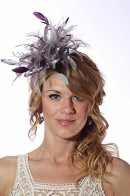 Silver & Purple Fascinator Hat/choose any satin/highlight feather colour