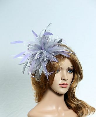 Silver & Lilac Fascinator Hat/choose any satin/ feather colour