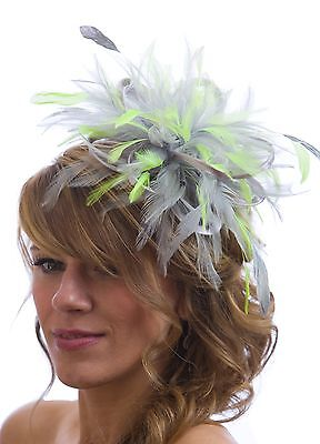 Silver & Acid Green Fascinator Hat/choose any satin/ feather colour
