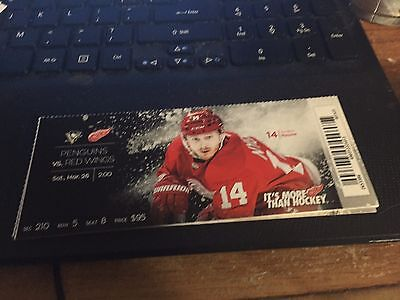 2016 Detroit Red Wings Vs Pittsburgh Penguins Ticket Stub 3/26 Gustov Nyquist
